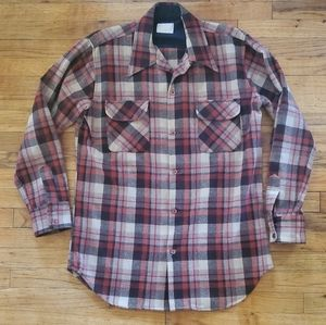 Vintage sears plaid large wool flannel
